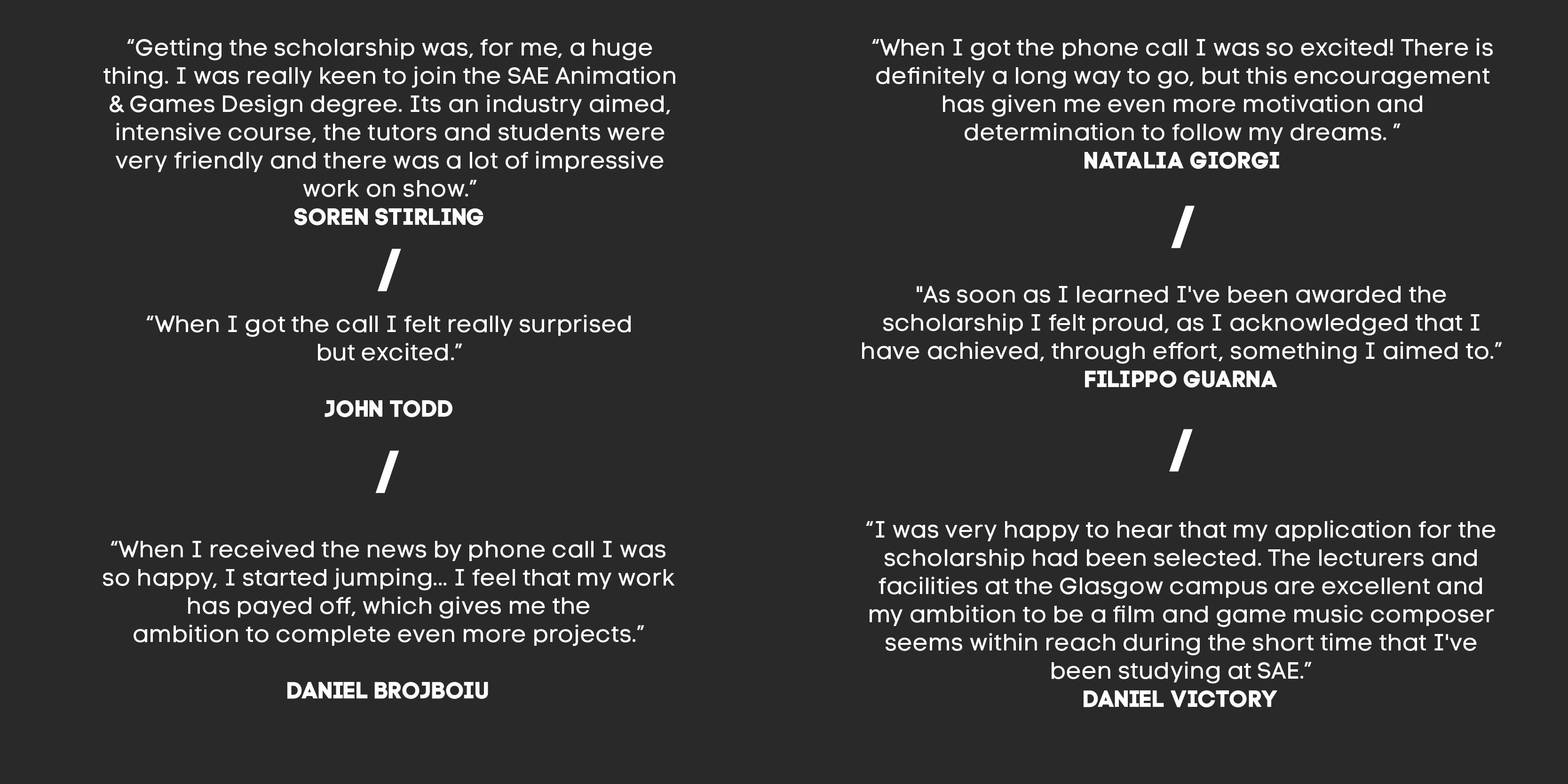 Phone Call Quotes Sae Scholarship Winners Announced  Sae Institute Uk  Creative